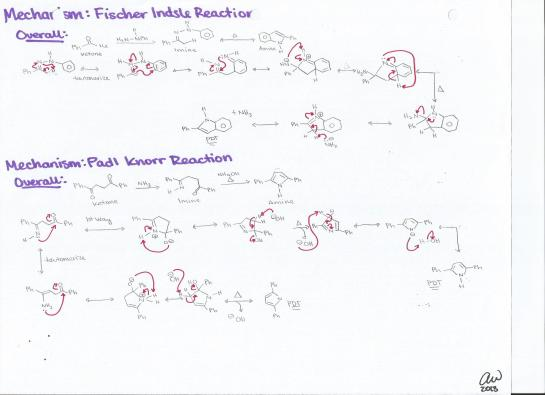Fischer Indsle Reaction and Padl Knorr Reaction